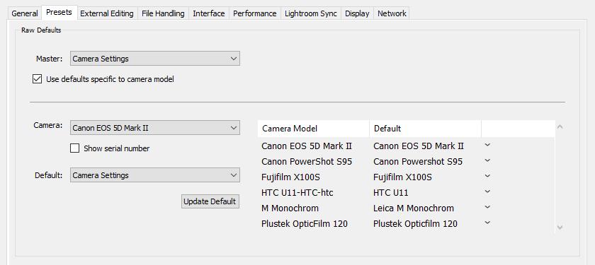 Default Camera Profiles